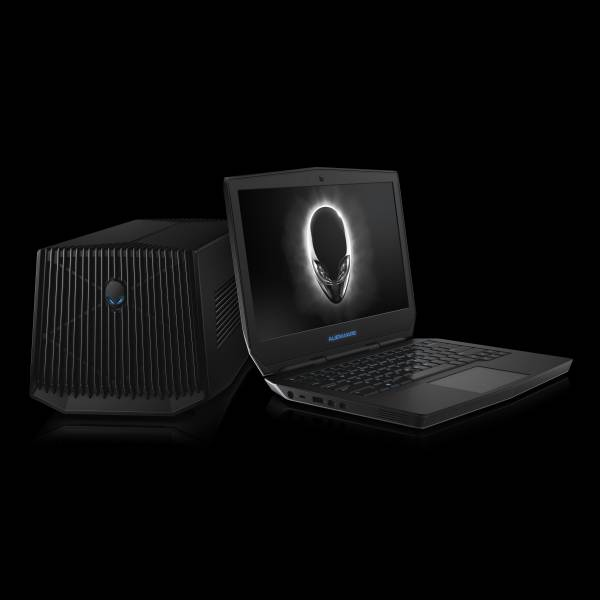 Dell Alienware 13 Non-Touch notebook computer with Alienware Graphics Amplifier (codename Caldera) external graphics processor docking peripheral, on a black background.