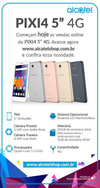 Pílula Alcatel_início vendas online PIXI 4 5 4G
